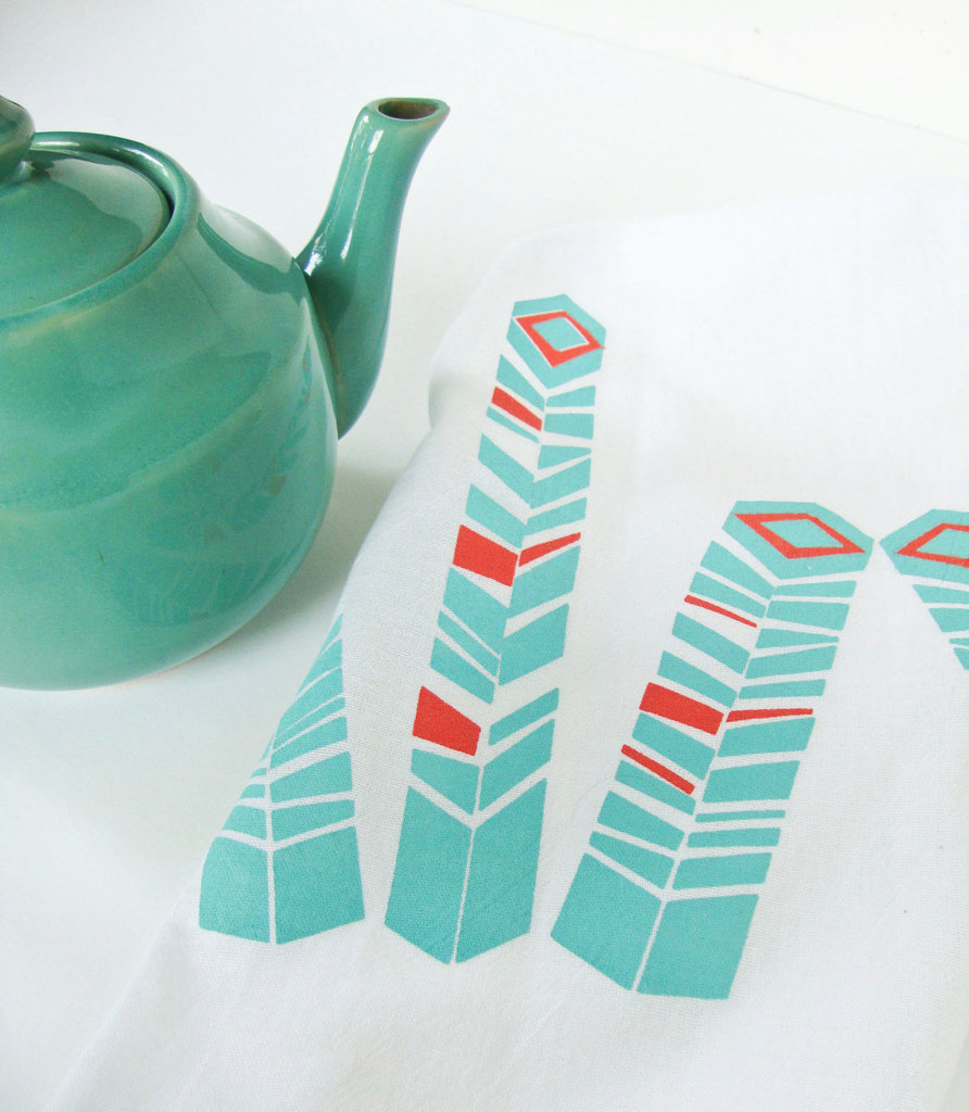 This Geometric Feather Tea Towel ($10) would add fresh color to your kitchen.