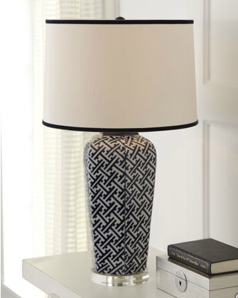Featuring a repetition of tiny patterns, the Geometric Table Lamp ($300) would add elegant pattern to a traditionally dressed room.