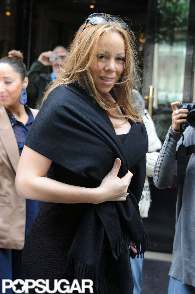Mariah Carey left her Paris hotel wearing all black.