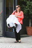 Jennifer Garner carried baby Samuel while running errands in LA.