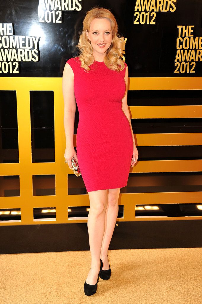 Wendi McLendon-Covey wore a bright red dress to the Comedy Awards in NYC.