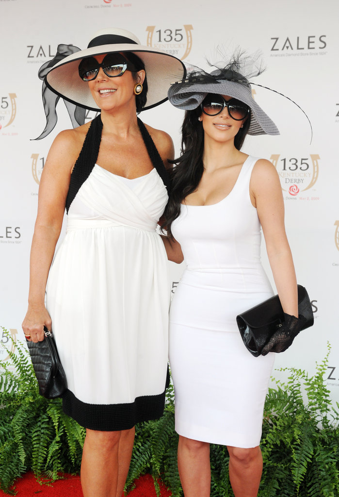 Kim Kardashian and her mom Kris Jenner brought big hats to the Derby in 2009.