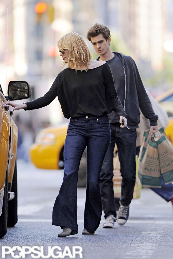Emma Stone opened the taxi door while Andrew Garfield carried groceries from Whole Foods in NYC.