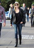 Emily VanCamp wore a leather jacket.