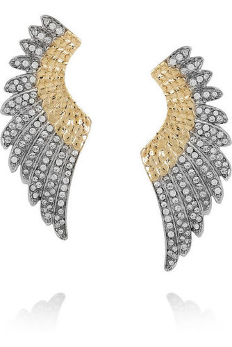 Roberto Cavalli | Gold-plated Swarovski crystal wing earrings | NET-A-PORTER.COM