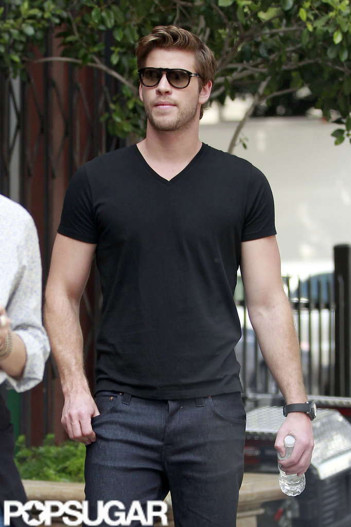 Liam Hemsworth returned to his everyday clothes after a Men's Health photo shoot in LA.