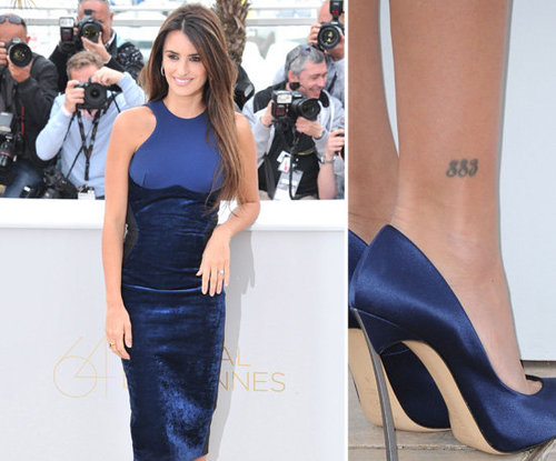 "Penelope Cruz has her favorite numbers, ""883,"" tattooed above her right ankle."