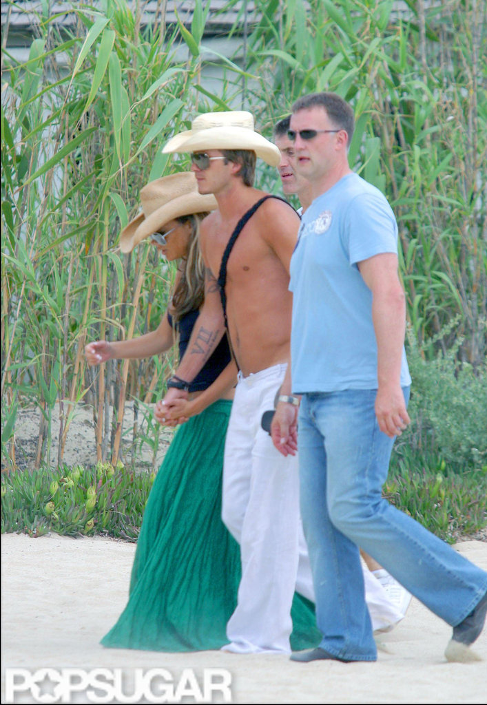 David Beckham was shirtless for a 2005 vacation in St. Tropez with his wife, Victoria.