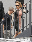 Casper Smart held hands with Jennifer Lopez on the way to a press conference in LA.