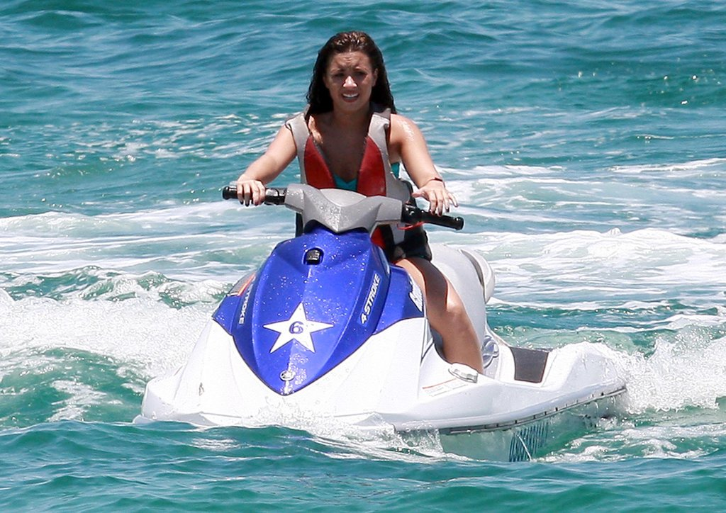 Demi Lovato went jetskiing during a June 2010 Cabo vacation.