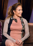 Jennifer Lopez looked excited at a press conference to announce her Mega tour.
