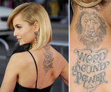 "Mena Suvari got a lion's head with the words ""word, sound, power"" on her upper back in 2008."