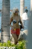 Christina Aguilera slipped into a sexy bikini and strolled back to her bungalow at Cabo's One and Only Palmilla in September 2005.