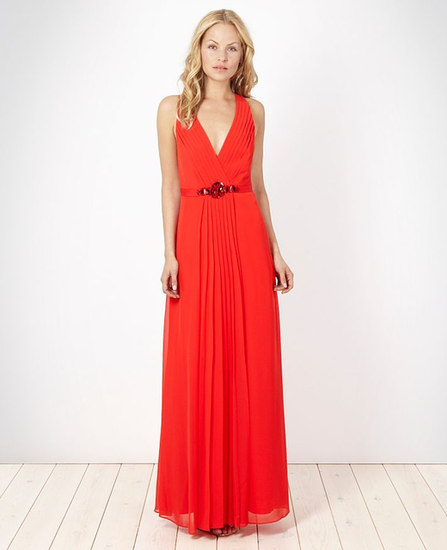 No. 1 by Jenny Packham Red Pleated Chiffon Maxi Dress ($219)