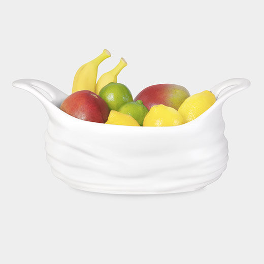 A playful reference to the market, this Shopping Bag Fruit Bowl ($125) makes colorful fruit pop.