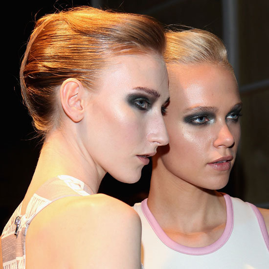 "Models show off the ""short back and sides"" hairstyle backstage."