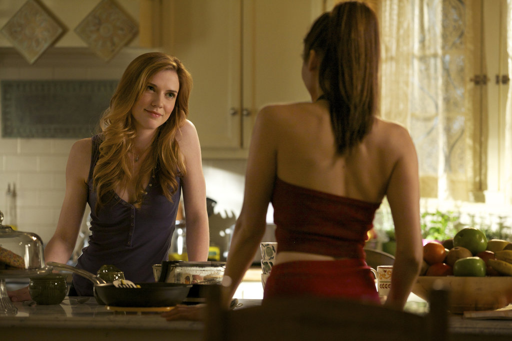 Sara Canning and Nina Dobrev in The Vampire Diaries.
