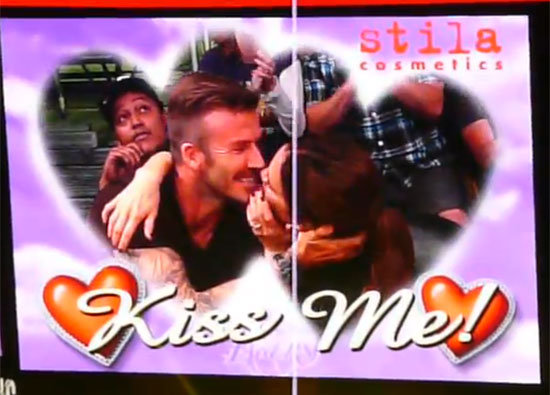 David and Victoria Beckham kissed on the Kiss Cam during a Lakers game in May.