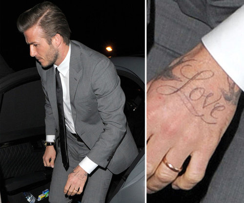 "In October 2011, David Beckham revealed ""Love"" on his left hand. He added the word to his tattoos three months after the birth of his daughter, Harper."