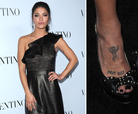 "Gossip Girl's Jessica Szohr has a cherub and the numbers ""29:11"" and ""4:13"" etched on her foot."