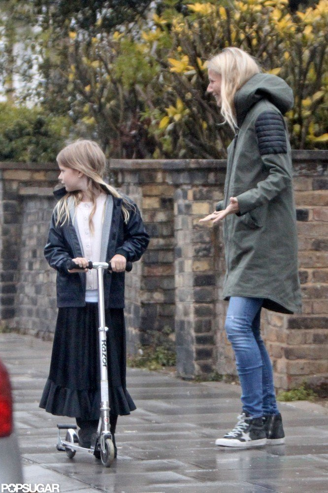 Gwyneth Paltrow Braves Rainy London With the Help of Apple and Moses