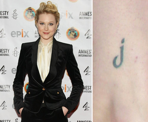 Evan Rachel Wood has the initial of her love, Jamie Bell, tattooed on her ankle. Evan has nine tattoos — and counting.