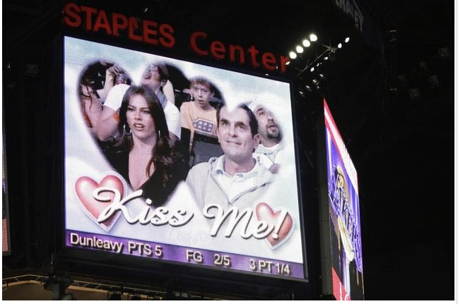 Sofia Vergara and Ty Burrell were caught on the kiss cam together at a Lakers game for an episode of Modern Family.