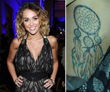 Miley Cyrus has a dream catcher tattoo on her rib cage.