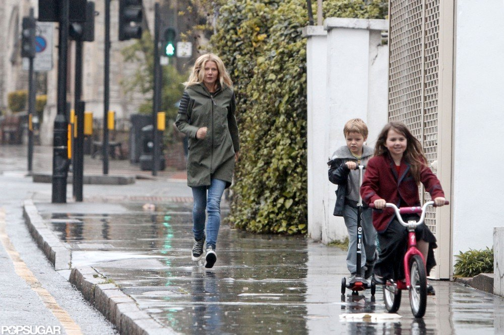 Gwyneth Paltrow spent a day in London with kids Apple Martin and Moses Martin.