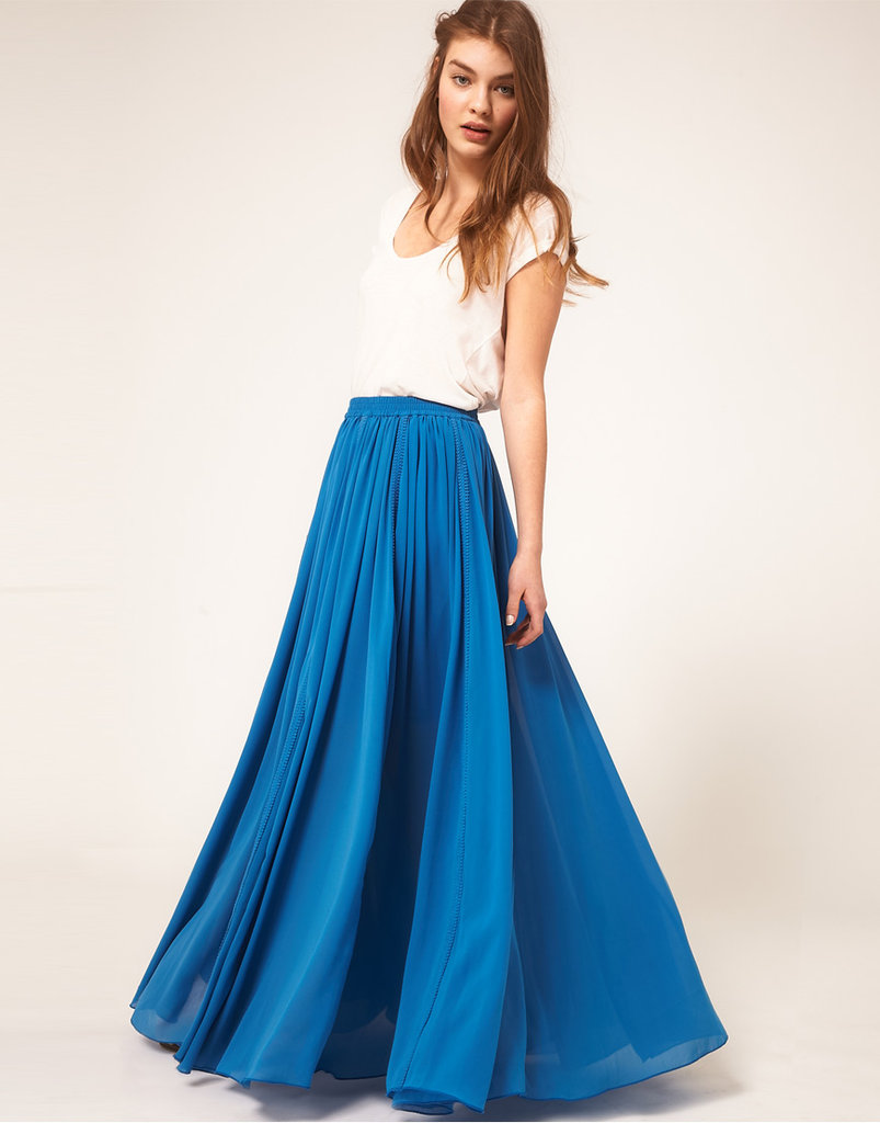 We love this sheer chiffon skirt — just tuck in a plain tee or tank and you're ready to go.  ASOS Maxi Skirt with Broderie Inserts ($82)