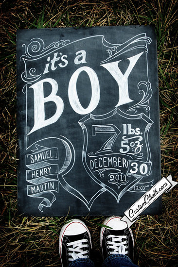 Chalkboard Birth Announcement ($119)