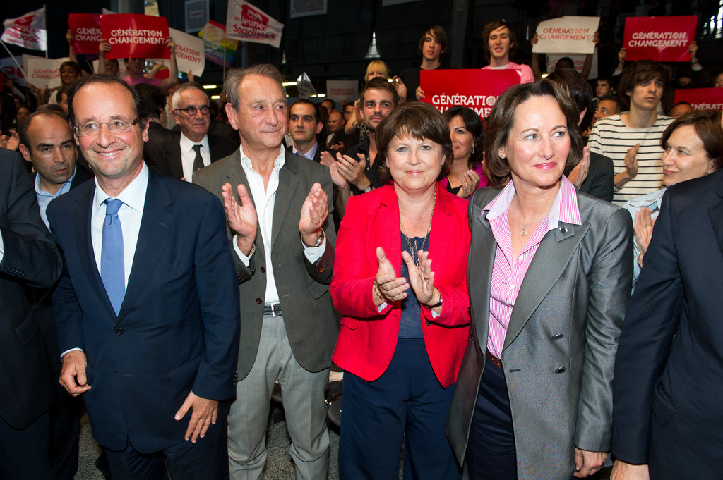 Regardless of their split, Ségolène, seen in pink, still supported Francois.