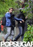 Maggie Gyllenhaal and Peter Sarsgaard went for a walk with daughter Gloria Ray Sarsgaard in Brooklyn.