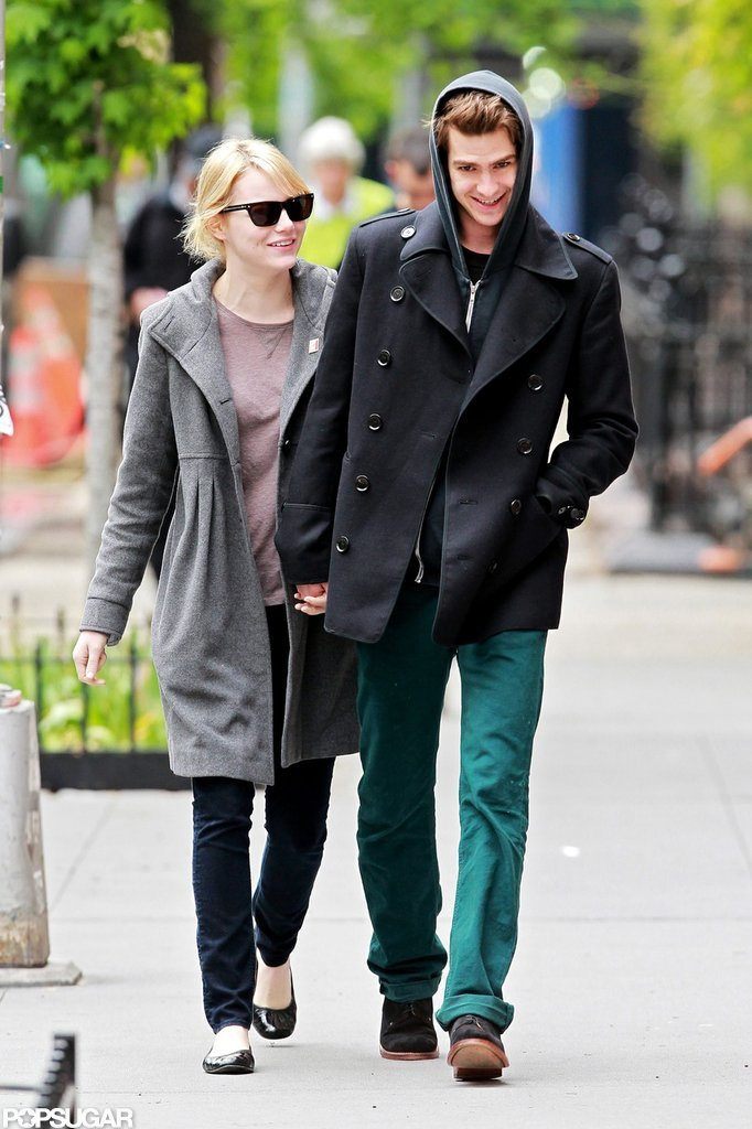 Emma Stone and Andrew Garfield smiled, laughed, and held hands after having lunch in their NYC neighborhood.
