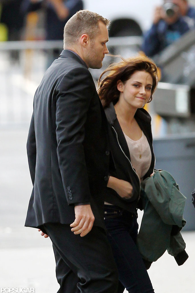 Kristen Stewart smiled at her fans outside Jimmy Kimmel Live.