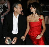 Penelope Cruz shared front row status with George Clooney at a Giorgio Armani fashion show held in LA in February 2007.