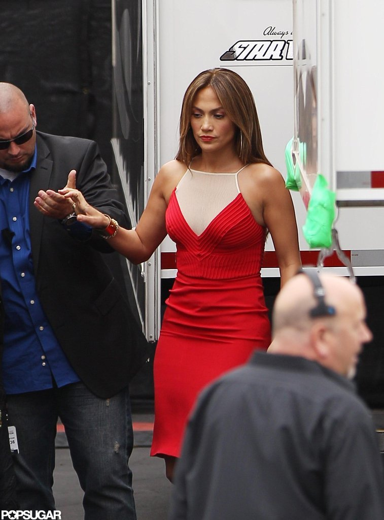 Jennifer Lopez received a little help as she stepped down from her trailer.