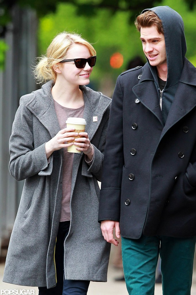 Emma Stone and Andrew Garfield smiled after having lunch in their NYC neighborhood.
