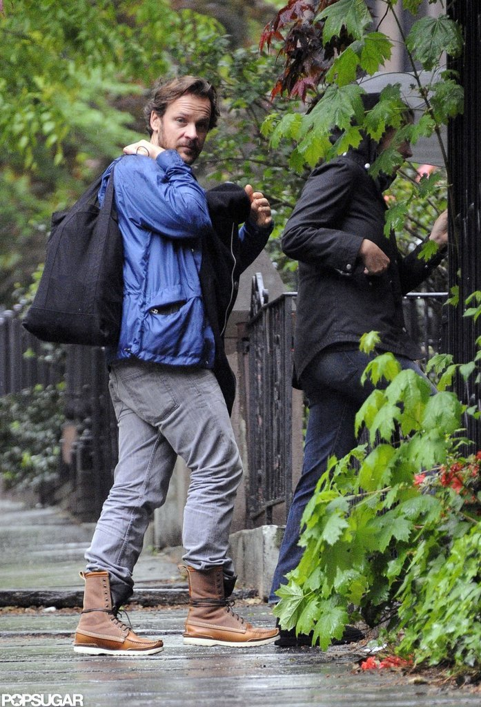 Maggie Gyllenhaal and Peter Sarsgaard went for a walk with newborn daughter Gloria Ray Sarsgaard in Brooklyn.