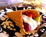 Waffle Cone Fruit Cup With Vanilla Cream