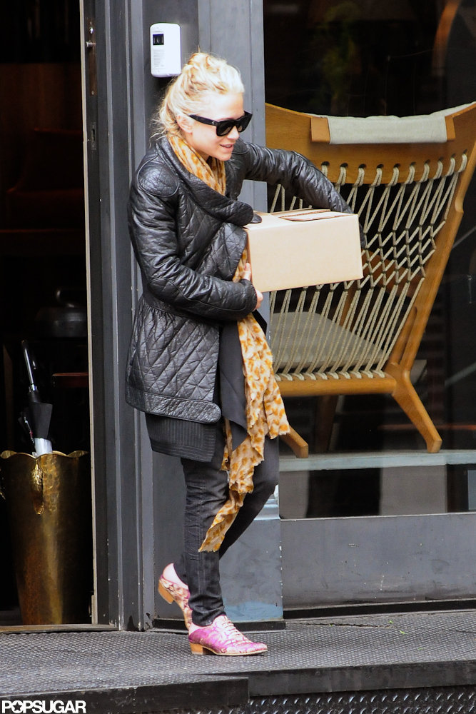 Mary-Kate Olsen wore a quilted leather jacket shopping in NYC.