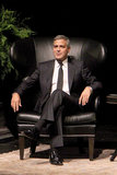 George Clooney looked relaxed during an interview by Lynn Wyatt in Houston.