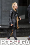 Mary-Kate Olsen wore pink shoes and a black leather jacket on a shopping trip around NYC.
