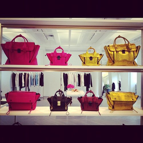 We had to snap a photo of the wall of lust-inducing Phillip Lim totes at the designer's showroom.