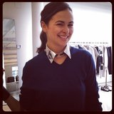 Our style director Noria showed off the perfect metallic collar at Phillip Lim.