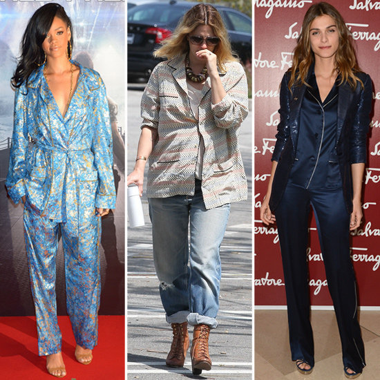 See how your favorite celebs are styling out their pajama tops.
