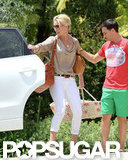 Katherine Heigl took her newly adopted daughter over to a friend's house in LA.
