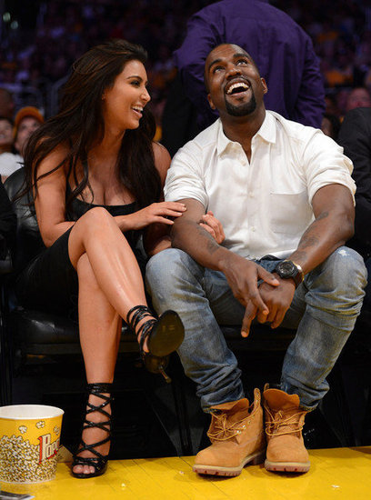 Kim Kardashian and Kanye West were spotted at the Denver Nuggets v Los Angeles Lakers - Game Seven
