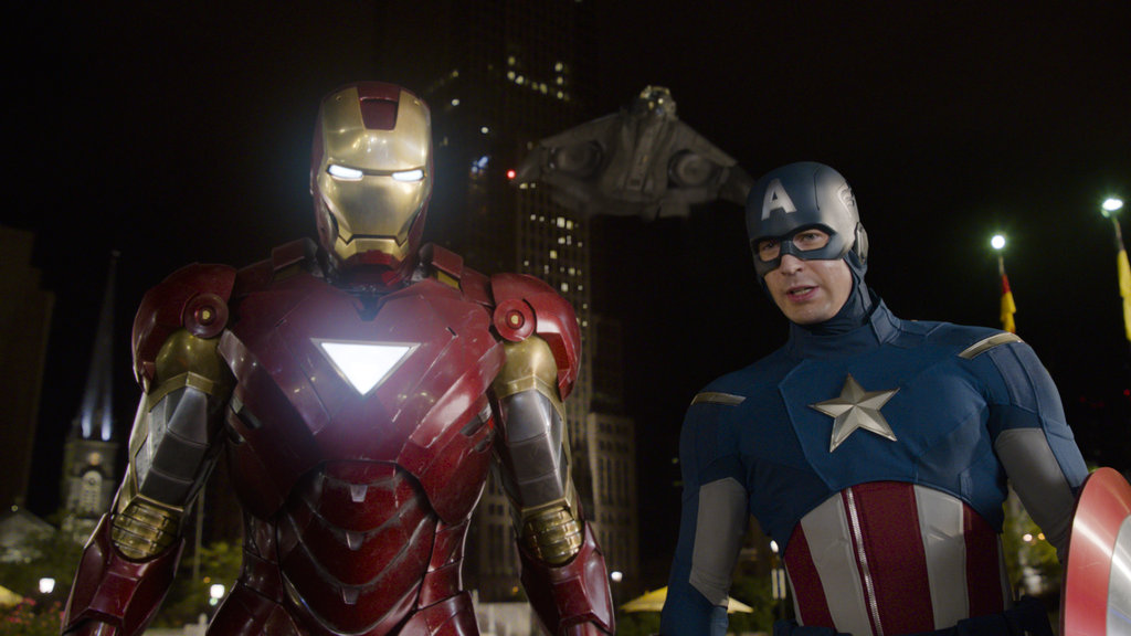 Robert Downey Jr. as Iron Man and Chris Evans as Captain America in The Avengers. Photo courtesy of Disney