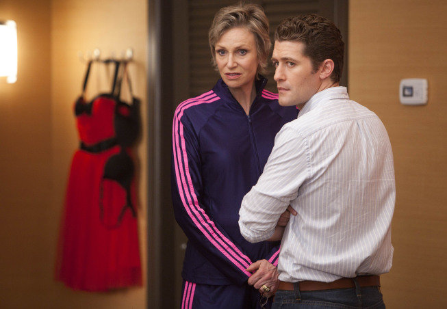 Sue and Schuester share a moment during Nationals. Photo courtesy of Fox